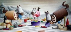 'Bored Tiddlyrockers' #naive #art #whimsical #impossimal #painting #boardgames #toys #arctic #tiddlywinks #scrabble