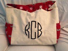 A bag with Alabama material.