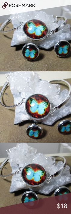 Blue butterfly bracelet & earrings set Blue butterfly bracelet & earrings set, the bracelet is adjustable & curved. The butterfly is a symbol of powerful transformations, transitions, and re-birth. When the butterfly comes into your life as spirit guide, you may be going through or expect important changes in your life. In many traditions around the world, the butterfly is a symbol of the soul or soul world. In Chinese symbology, it can represent immortality. Jewelry Bracelets