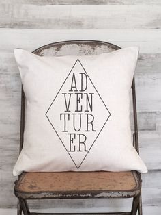 Pillow Cover Inspirational ADVENTURER by JolieMarche on Etsy