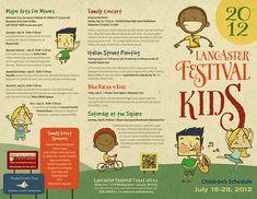Illustrations for 2012 Lancaster Festival Kids Brochure Pamphlet Design, Lancaster, Book Festival, Magazine Layout Design, Creative Brochure, Kids Poster, Magazines For Kids, Print Layout, Inspiration For Kids