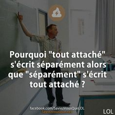 "Why is ""all attached"" written separately while ""separately"" is written all attached? Funny Cute, Hilarious, Funny French, Quote Citation, Lol, Funny Images, Laugh Out Loud, Quotations, Affirmations"