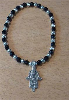 Sterling Silver & Onyx Bracelet with Hamsa