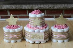 SET OF 3 - 2 Tier & 2 Mini Pink and Gold Twinkle Twinkle Little Star Diaper Cake Set, Gold Burlap Lace, Centerpiece, Girl Star Baby Shower by BabeeCakesBoutique on Etsy https://www.etsy.com/listing/276366490/set-of-3-2-tier-2-mini-pink-and-gold