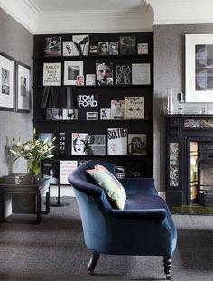 Nice array of books/black paint