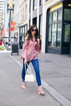 Wheretoget - Black sunglasses, pink off-the-shoulder blouse, blue skinny jeans, white clutch bag and blush pink high-heeled sandals