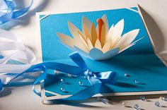 lotus flower pop up card. could also alter this template to create a rose or other flower.