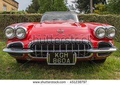 DERBYSHIRE, ENGLAND - JUNE 08, 2016: American classic car, Chevrolet Corvette C1. Shot in England at a classic car show.