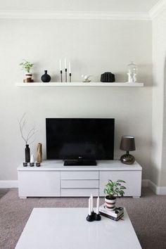 tv régler Buffet petit salon blanc flottant étagère murale: