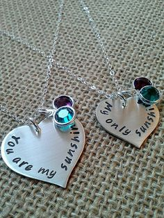 Mother Daughter Necklace, You are my sunshine, My only sunshine, Sterling Silver Heart Necklace Set for Mother and Daughter on Etsy, $66.00