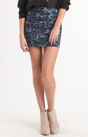 Printed Pleated Zip Body Con Skirt
