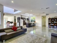 Results for polished concrete floors in kitchens Living Room White, Home And Living, Australian Homes, Polished Concrete, Flooring Options, Concrete Floors, Open Plan, Living Area, Tile Floor