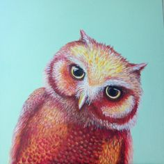 Colorful Owl Painting with Mint Background by HollyOBrian on Etsy,