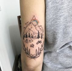 Cute camping scene tattoo by Resul Odabas