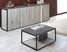 Table basse carrée industrielle couleur chêne gris et marbre NERA