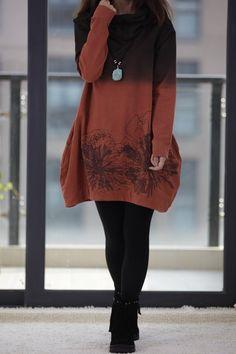 Hooded long sleeve irregular gradient Coat dress