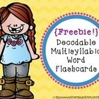 Included are flashcards for decodable multisyllabic words containing the following common word chunks: ack, ail, ain, ake, ate, ame, an, and, ank, ...