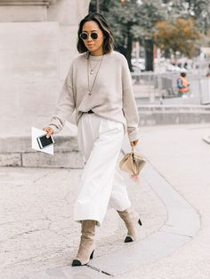 What to wear in the cold weather denim knit sweater boots winter style