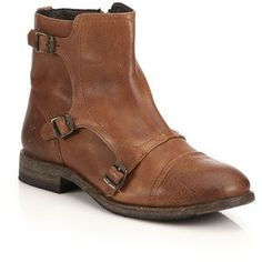 Frye Ethan Triple-Buckle Leather Ankle Boots