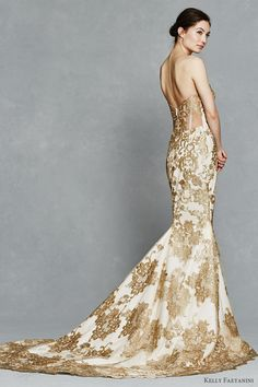 kelly faetanini bridal spring 2017 strapless sweetheart fit flare wedding dress (gwendolyn) sv gold color embroidery train