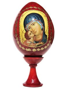 """Russian Souvenir Egg """"""""Virgin and Child"""""""" 2 Piece Set Water Based Wood Stain, Unique Gifts For Kids, Decoupage, Egg Art, Religious Gifts, Wooden Hand, Wooden Dolls, Christian Gifts, Easter Gift"""