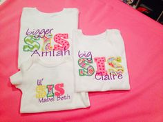 Big sister/little sister shirts. Available for boys also. by InitialThatMonograms on Etsy
