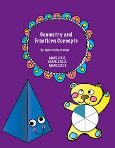 This packet covers the following standards:MAFS.2.G.1.1MAFS.2.G.1.2MAFS.2.G.1.3The packet includes 43 pages covering geometry and fraction concepts. Anchor charts, sorting activities, formative and summative assessments, drawing shapes practice, shading shapes practice, naming fractions, sorting shapes, sorting quadrilaterals, sorting real life objects by shapes, partitioning rectangles and circles practice, center activities for fractions and shapes, etc.