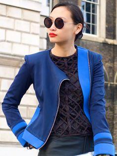 blue!  -  Style me curvy: Street style @ LFW Spring 2012