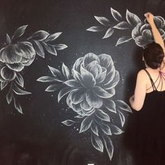 To every client who emails me: Yes. Yes, I will draw you chalk flowers all day long. A thousand times yes. This wall took one piece of… Blackboard Art, Chalkboard Lettering, Chalkboard Designs, Chalkboard Walls, Chalk Drawings, Chalkboard Drawings, Art Drawings, Chalk Wall, Mandala