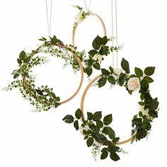 Ling's moment Spring Summer Greenery Wedding Handcrafted Vine Wreaths Set of 3, Wedding Decor Rustic Wedding Backdrop, Artificial Roses Plant Flower Garland, Woodland Wedding decoration Floral Hoop