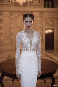 berta bridal gowns 2014 long illusion sleeve dress close up