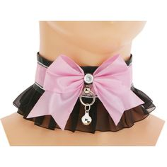Black pink satin lace Kitten Collar, Kitten Play Collar, princess,... ($18) ❤ liked on Polyvore featuring jewelry, necklaces, layered choker necklace, gothic chokers, pink bubble necklace, charm necklaces and pink choker