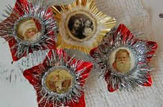 More ornaments for Junk Fest. Old reflectors with vintage images, tinsel, cheese cloth and bottle caps. Pleated paper with a littl.