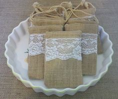 Wedding and Shower Burlap and Lace Favor Bags Rustic Wedding Showers, Bridal Showers, Burlap Favor Bags, Lace Garland, Wedding Tokens, Lace Bag, Burlap Table Runners, Wedding Inspiration, Wedding Ideas
