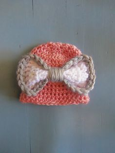 Pink Baby Girl Beanie with Oversized White and Grey Bow
