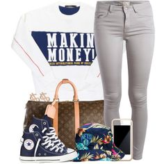 A fashion look from December 2014 featuring Pieces leggings, Converse sneakers and Louis Vuitton handbags. Browse and shop related looks.