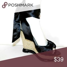 """PARIS HILTON DRESSY BLACK PARTY WEDGE SATIN SANDAL This fun and flirty ankle wrap wedge sandals are the perfect complement to a cool summer dress, party or prom. Satin upper; Ankle wrap and knot detail; Round peep toe; 5"""" raffia wedge PARIS HILTON Shoes Platforms"""