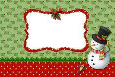 Moldura Convite e Cartão Natal Papai Noel e Boneco de Neve: