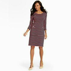 Talbots Pink Striped Dress ✨N-W-T✨ Never been worn before.   ⏩Gorgeous!!!  ⏩Feminine and classic at the same time!  ⏩An easy to wear pull on gets even easier in machine washable fabric.  ⏩100% cotton, so comfortable. ⏩Scoop neck.  ⏩Gold button faux welt pockets. ⏩Great for brunch with your BFF. ⏩1st picture is the same type of dress, except for the different sleeve length.  ⏩2nd pict is real photo. Talbots Dresses Midi