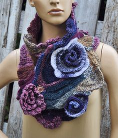 Crochet Scarf Capelet Roses Neck Warmer Unique by Degra2 on Etsy