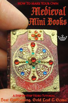 Medieval Books, Medieval Manuscript, Medieval Art, Handmade Books, Book Binding, Book Nooks, Book Making, Mini Books, Book Art