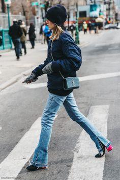 Nyfw New York Fashion Week Fall Winter 17 Street Style Saint Laurent Bag Jessica Minkoff Jeans Bomber 1