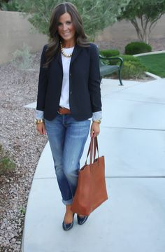 She makes it seem so effortless to put a look together....love the blazer