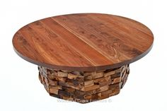 Craftsman Coffee Table with Reclaimed Stacked Wood Tiles & Solid Walnut Top Natural Wood Coffee Table, Log Coffee Table, Natural Wood Furniture, Reclaimed Wood Furniture, Rustic Furniture, Craftsman Coffee Tables, Wooden Hinges, Into The Woods, Rustic Coffee Tables