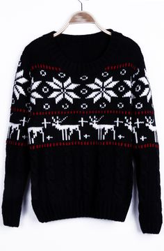 #SheInside Black Snowflake with Deer Christmas Pattern Cable Sweater