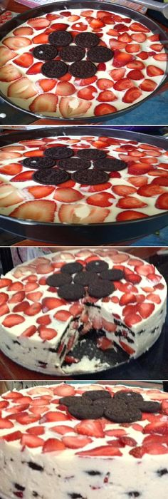 Today I want to share this Carlota d lemon with strawberry oreo cookie I hope you . Unique Desserts, Sweet Desserts, Sweet Recipes, Pie Dessert, Dessert Recipes, Cheesecake Cake, Pie Cake, Love Eat, Oreo Cookies