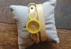Seen on SilverInTheCity.com: AKAMI WATCH, colorful yellow wrap watch.