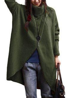 Asymmetric Hem Turtleneck Long Sleeve Army Green Sweater   31.98