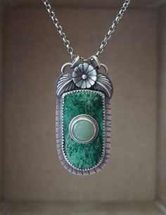 Chrysocolla And Aventurine Stone on Stone Pendant Sterling Silver
