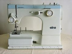 The Elna sewing machine is used and does show wear from use and age but appears to be in overall Good Condition. We could not test the machine because the power cord and foot pedal cord is not safe and needs to be replaced. Overlock Machine, Vintage Sewing Machines, Studio Ideas, Sewing Patterns, Memories, Tools, Retro, Antiques, Craft